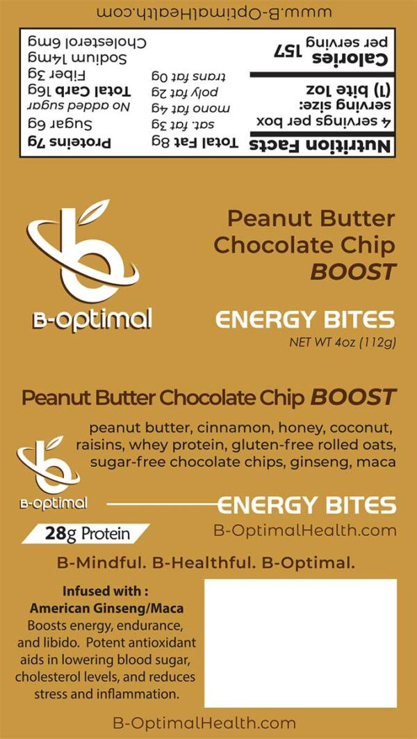 Be Optimal Energy Bites - Peanut Butter Chocolate Chip Boost